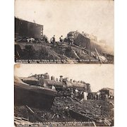 Pair Real Photo Postcards of 1910 Indianapolis, IN Railroad Wreck