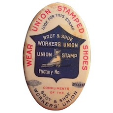 c1910 Advertising Pocket Mirror Boot and Shoe Workers Union