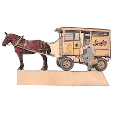 c1920 Small Advertising Standup Milkman w/ Horse Drawn Milk Wagon for Gridley Dairy Products