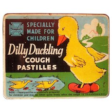 Dilly Duckling Cough Pastilles for Children Advertising Tin