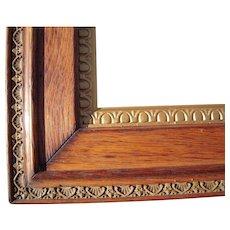 "Large Ornate Victorian Oak Picture Frame w/Gold Liner 19"" x 25"""