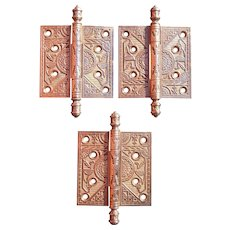 Lot 3 Ornate Victorian Brass Door Hinges 4 x 4 Inches