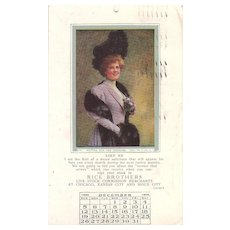 Lot 5 Advertising 1910 Calendar Months Postcards of Pretty Women