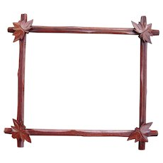"Victorian Era Walnut Picture Frame w/ Decorative Leaves 10 3/4 "" x 12 3/4"""