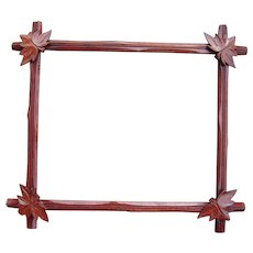 "Victorian Era Walnut Picture Frame w/ Decorative Leaves 11 3/4 "" x 14 3/4"""