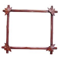 "Victorian Era Walnut Picture Frame w/ Decorative Leaves 11 3/4 "" x 14 3/4"""