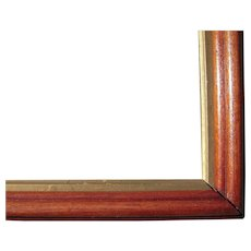 "Thin Walnut Picture Frame w/Gold Liner from the Victorian Era 9 1/2"" x 13 1/2"""