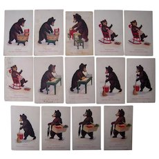 Lot 14 1906 Teddy Bear Days of the Week Postcards