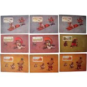 Lot 9 1906 Teddy Bear Seasons of the Year Postcards