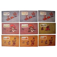 Lot 9 1906 Teddy Bear Seasons of the Year Postcards