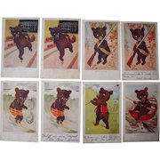 Lot 9 1907 Teddy Bear Sporty Bears Postcards
