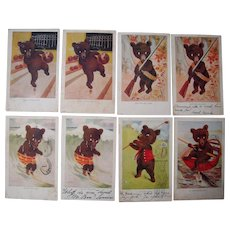 Lot 9 1907 Teddy Bear Sporty Bears Postcards