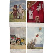 Lot 4 Roosevelt Bears Postcards from 1906