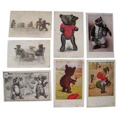 Lot 6 1906-1907 Sports and Games Teddy Bear Postcards