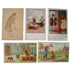 Lot 5 Misc. Days of the Week Teddy Bear Postcards 1906-1907