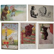 Lot 5 Misc. Romantic Teddy Bear Postcards early 1900s