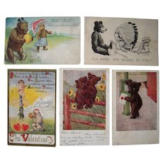 Lot 5 Misc. Romantic Teddy Bear Postcards early 1900s