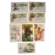 Lot 8 Christmas/New Years Teddy Bear Postcards from early 1900s