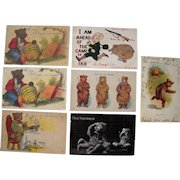 Lot 7 1906/1907 Teddy Bear Postcards Mostly Humorous Situations