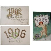 Lot 3 Year Date (New Year's) Postcards from 1902 and 1906