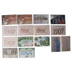 Lot 15 1907 Year Date (New Year's) Postcards