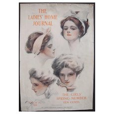 Harrison Fisher Cover Ladies Home Journal March 1911(w/Chewing Gum Ad)