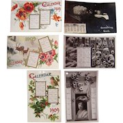 Lot 6 1909 Calendar Postcards (incl 1 RPPC w / Dogs)