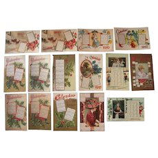 Lot 15 1910 Calendar  Postcards (incl 1 Christy Postcard)