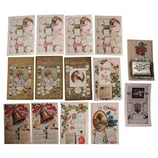 Lot of 14 1911 Calendar Postcards