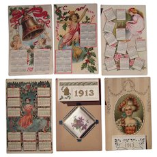 Lot 6 1912/1913 Calendar Postcards
