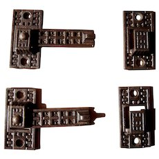 Pair Ornate Victorian Cast Iron Interior Shutter Latches