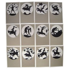 "Complete Set of 12 German Artist Signed Silhouette Postcards ""Walpurgisnact"""
