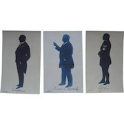 Lot 3 Real Photo Postcards Silhouettes of 2 US Presidents and 1 French General