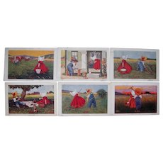 "Set of 6 Sunbonnet ""Hours of the Day"" from 1906"