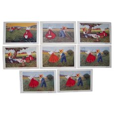 "Lot 8 1906 Sunbonnet ""Hours of the Day"" Postcards"
