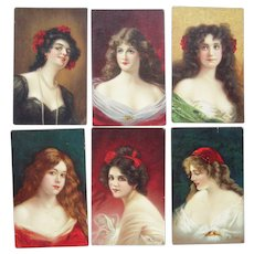 Set 6 Artist Signed Glamour Ladies from Tucks Connoisseur Series