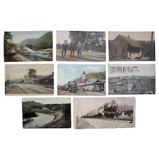 Lot 8 1910s Railroad Postcards incl 3 RPPC