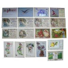 Lot 18 Birthday Postcards c1900s/1910s