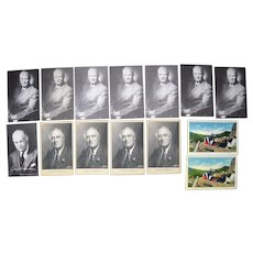 Lot 14 Postcards Presidents Roosevelt and Eisenhower