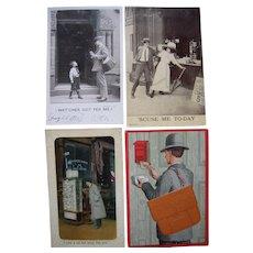 Lot 4 c1900s Postcards of Postmen and Postcard Display Racks (incl 1 RPPC)