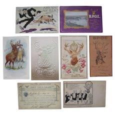 Lot 9 B.P.O.E. (Elks) Postcards c1900s