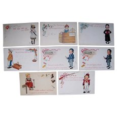 Lot 8 Artist Signed E. Curtis Postcards from 1903 of Occupational Children