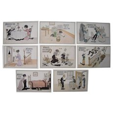 "Lot 8 1910s Comic Postcards ""Married For"" Series"