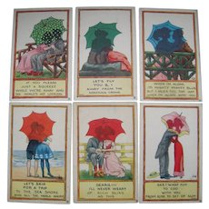 Lot 6 1912 Artist Signed Wall Postcards Silhouettes in Umbrella Series 6319