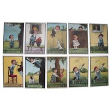 Lot 10 c1910s Artist Signed Wall Postcards Cute Children Series 99