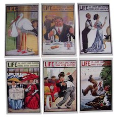 Lot 6 1910s Artist Signed Wall Postcards Life Series 138