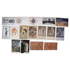 Lot 16 Masonic Postcards c1910