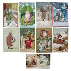 Lot 9 Early 1900s Santa Claus Postcards (w/Green Robe, Brown and Red Robes)