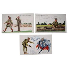 Lot 14 Wall Artist Signed WWI Comic Postcards
