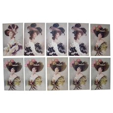 Lot 10 Bottaro Artist Signed Glamour Ladies Postcards c1907